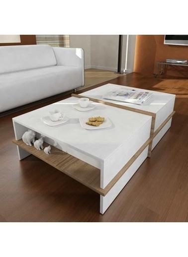 Dekorister Plus Orta Sehpa Beyaz-Cevız Renkli